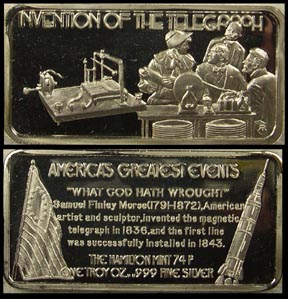 Invention of the Telegraph' Art Bar by Hamilton Mint.