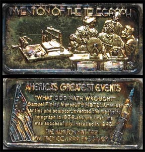 Invention of the Telegraph, gold plated' Art Bar by Hamilton Mint. MAIN