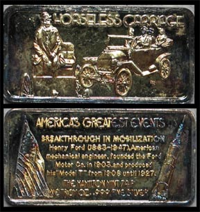 Horseless Carriage, gold plated' Art Bar by Hamilton Mint.