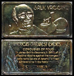 Salk Vaccine, gold plated' Art Bar by Hamilton Mint.