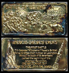 Battle of Lexington, gold plated' Art Bar by Hamilton Mint.