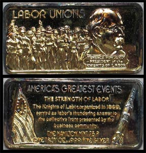 Labor Unions, gold plated' Art Bar by Hamilton Mint.