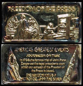 Freedom of the Press, gold plated' Art Bar by Hamilton Mint.