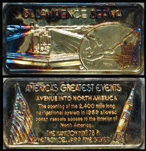 St. Lawrence Seaway, gold plated' Art Bar by Hamilton Mint.