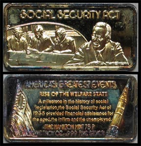 Social Security Act, gold plated' Art Bar by Hamilton Mint.