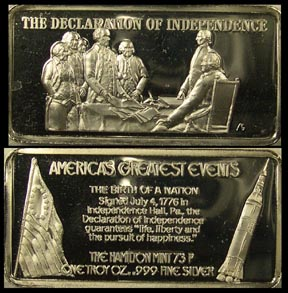 Declaration of Independence' Art Bar by Hamilton Mint. MAIN