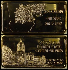 Georgia, gold plated' Art Bar by Hamilton Mint. MAIN