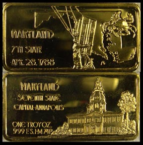 Maryland, gold plated' Art Bar by Hamilton Mint.