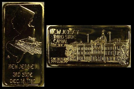 New Jersey, gold plated' Art Bar by Hamilton Mint. MAIN