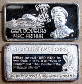 Gen. Douglas MacArthur' Art Bar by Hamilton Mint. MAIN