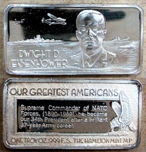 Dwight D. Eisenhower' Art Bar by Hamilton Mint.
