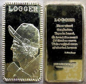 Logger, gold plated' Art Bar by Hamilton Mint.