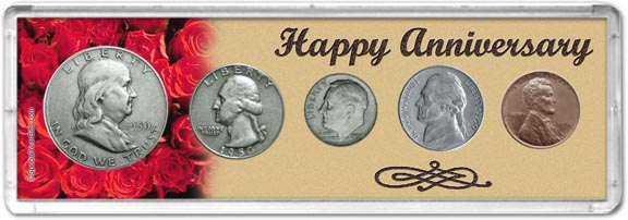 1950 Happy Anniversary Coin Gift Set LARGE
