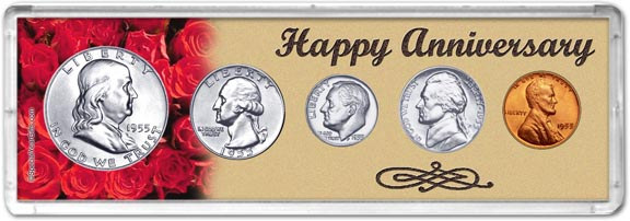 1955 Happy Anniversary Coin Gift Set LARGE