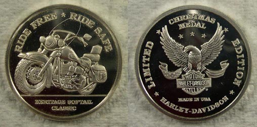 Harley Davidson Christmas Medal' Art Bar.