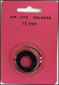 Air-Tite Coin Capsule, Model A, 15mm, black ring