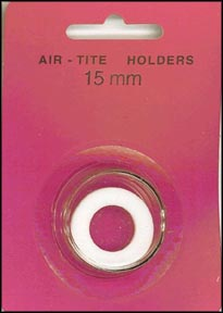 Air-Tite Coin Capsule, Model A, 15mm, white ring