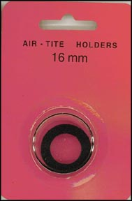Air-Tite Coin Capsule, Model A, 16mm, black ring