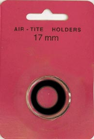 Air-Tite Coin Capsule, Model A, 17mm, black ring