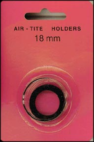Air-Tite Coin Capsule, Model A, 18mm, black ring