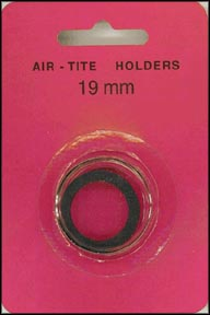Air-Tite Coin Capsule, Model A, 19mm, black ring