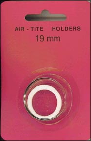 Air-Tite Coin Capsule, Model A, 19mm, white ring