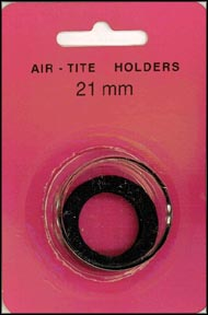 Air-Tite Coin Capsule, Model T, 21mm, black ring