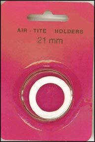 Air-Tite Coin Capsule, Model T, 21mm, white ring