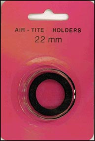 Air-Tite Coin Capsule, Model T, 22mm, black ring