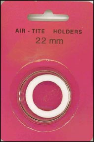 Air-Tite Coin Capsule, Model T, 22mm, white ring