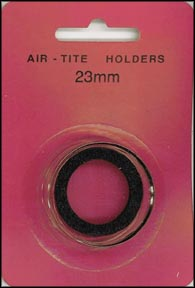 Air-Tite Coin Capsule, Model T, 23mm, black ring