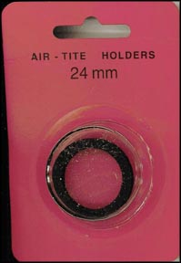 Air-Tite Coin Capsule, Model T, 24mm, black ring