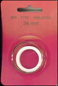 Air-Tite Coin Capsule, Model T, 24mm, white ring