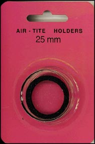 Air-Tite Coin Capsule, Model T, 25mm, black ring