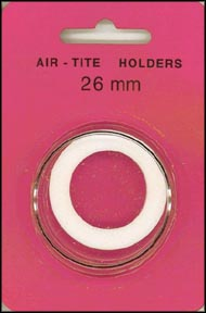 Air-Tite Coin Capsule, Model H, 26mm, white ring