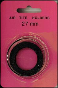 Air-Tite Coin Capsule, Model H, 27mm, black ring