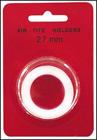 Air-Tite Coin Capsule, Model H, 27mm, white ring