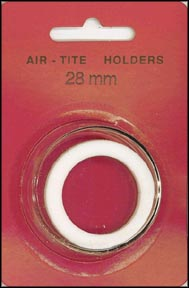 Air-Tite Coin Capsule, Model H, 28mm, white ring