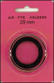Air-Tite Coin Capsule, Model H, 29mm, black ring
