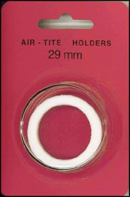 Air-Tite Coin Capsule, Model H, 29mm, white ring