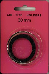 Air-Tite Coin Capsule, Model H, 30mm, black ring