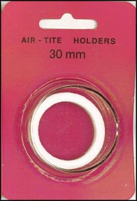 Air-Tite Coin Capsule, Model H, 30mm, white ring