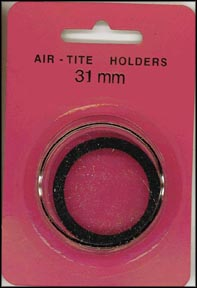 Air-Tite Coin Capsule, Model H, 31mm, black ring