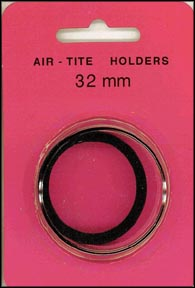 Air-Tite Coin Capsule, Model H, 32mm, black ring