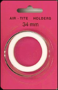 Air-Tite Coin Capsule, Model I, 34mm, white ring