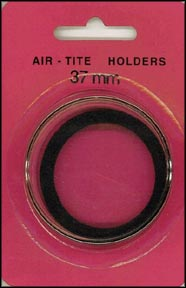 Air-Tite Coin Capsule, Model I, 37mm, black ring