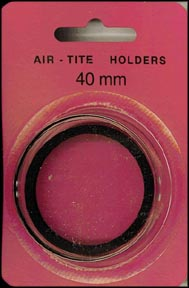 Air-Tite Coin Capsule, Model I, 40mm, black ring