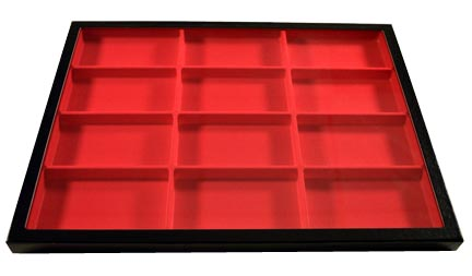 Chipboard Display Case, 12 Section 12 x 16 x 3/4'', red