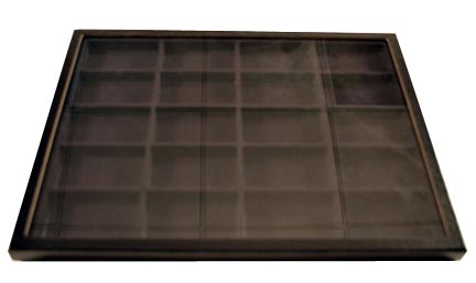 Chipboard Display Case, 20 Section 12 x 16 x 3/4'', black