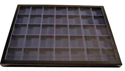 Chipboard Display Case, 35 Section 12 x 16 x 3/4'', black